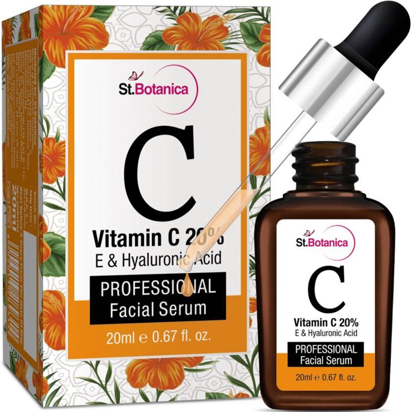 StBotanica Vitamin C 20% + Vitamin E & Hyaluronic Acid Facial Serum Anti  Wrinkle / Aging, Dark Circles, Sun Damage Serum