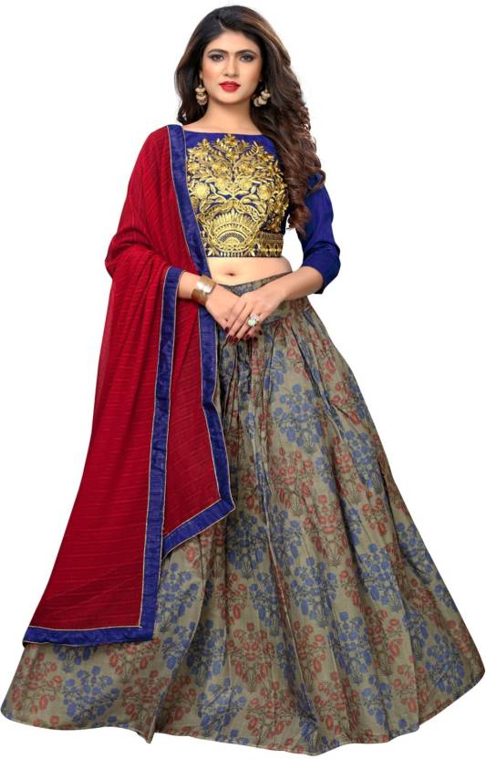 13bdb1ba1d Greenvilla Designs Self Design Semi Stitched Lehenga, Choli and Dupatta Set  (Brown)