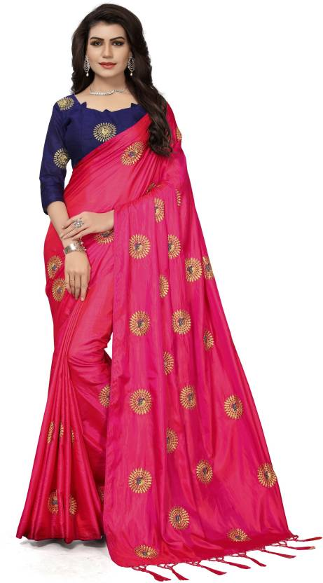 Buy Fashion Ritmo Embroidered Bollywood Silk Pink Sarees Online
