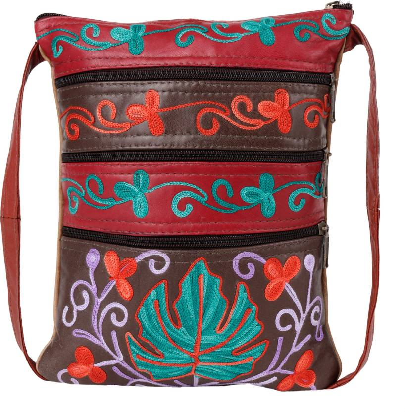 50eb561e0880 Craftwood Women Casual Multicolor Genuine Leather Sling Bag Multicolor -  Price in India