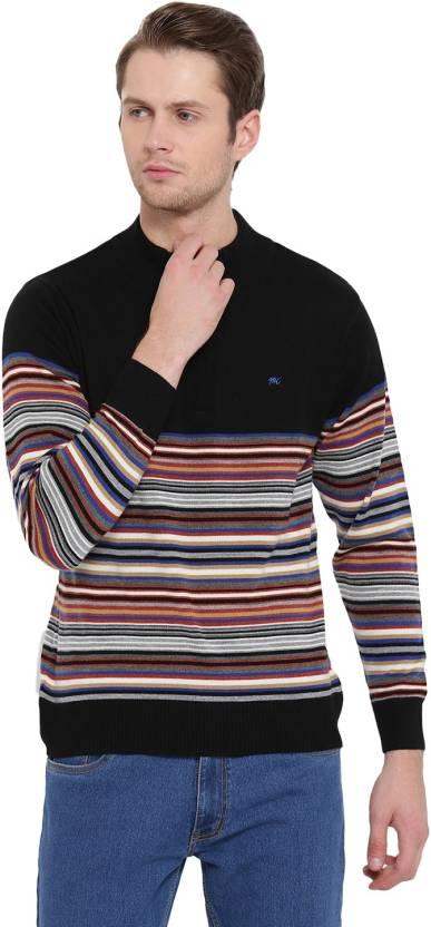 165963a2cfd Monte Carlo Striped High Neck Casual Men Multicolor Sweater - Buy ...