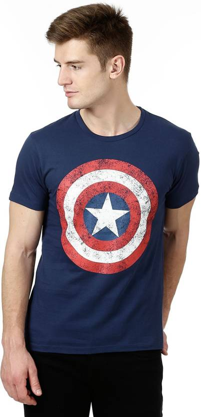f0507a02 Captain America By Free Authority Graphic Print Men's Round Neck Blue T- Shirt - Buy Captain America By Free Authority Graphic Print Men's Round  Neck Blue ...