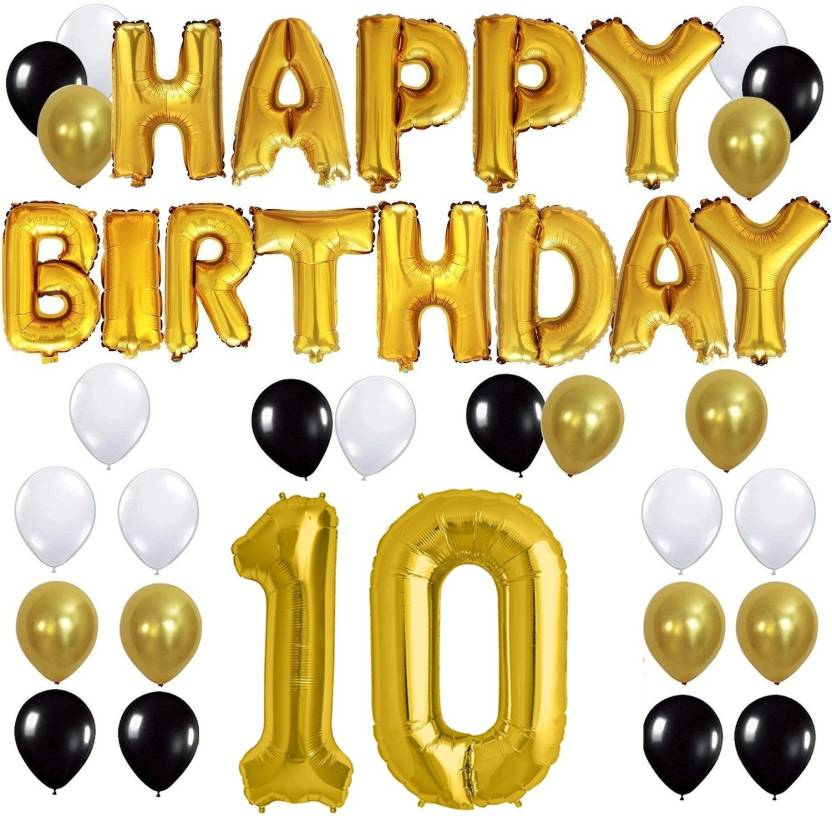 Theme My Party Happy Birthday Gold Letter Foil Black White Latex Balloons 50