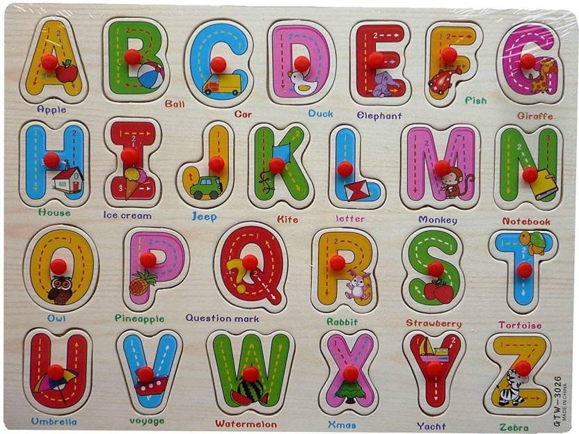 Happy GiftMart Wooden Puzzle Picture Board ABC Alphabet