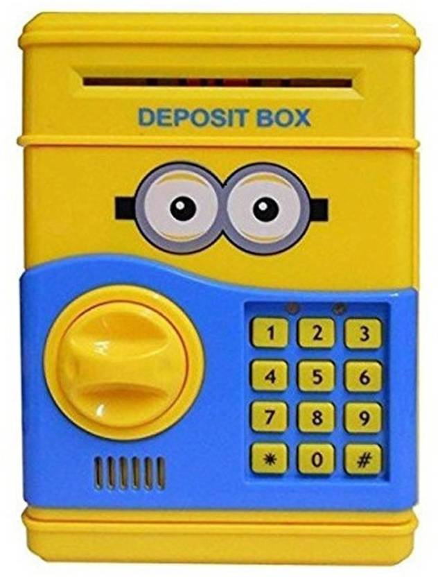 VShine Minion Money Safe ATM Smart Electronic Lock Piggy Bank for Coin/Note  Safe with Locker Key Coin Bank (Red) Coin Bank