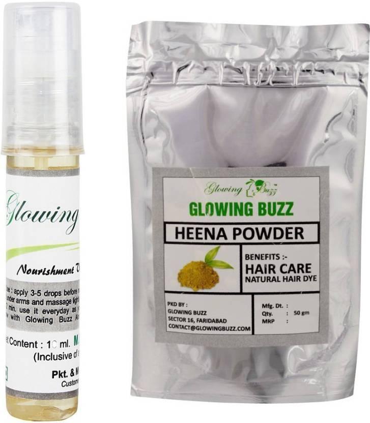 Glowing Buzz Combo of vitamin e oil 10 ml and heena powder 50 grams