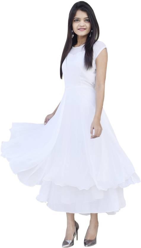 00223a2ce Rajkumari Women Maxi White Dress - Buy Rajkumari Women Maxi White Dress  Online at Best Prices in India