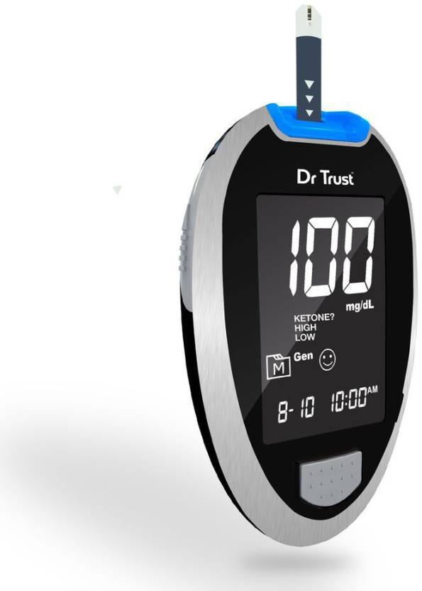 Dr  Trust (USA) Digital Glucose Blood Sugar testing Monitor Machine with 10  Strips & Digital Thermometer Included Glucometer
