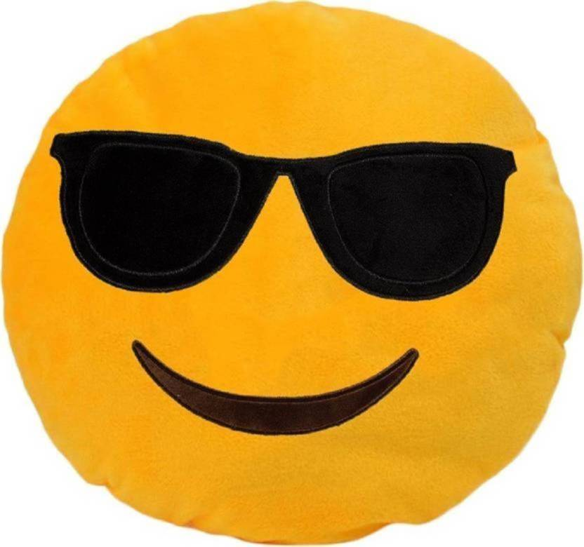 Nitsha Emoji Decorative Cushion Pack of 1(Yellow)