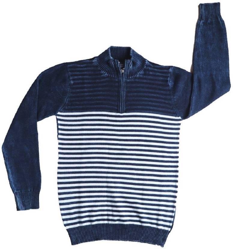 3736610f858 Gifteniaa Striped High Neck Casual Boy's Denim Dark Blue Sweater ...