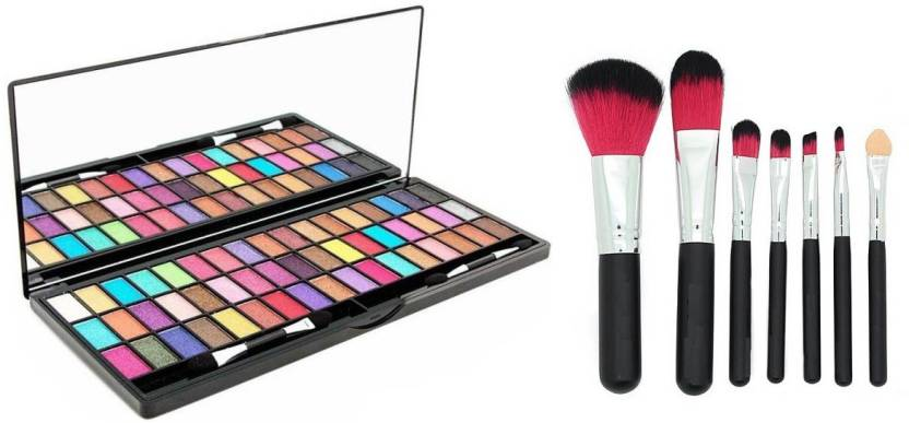 77b3656a7 TheTopNotch 7 Piece Brush Set with Storage Box and Eye Shadow 51 Colors (Set  of 2)