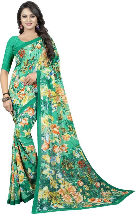870c76b984e50e Buy MKDigital Self Design Fashion Georgette Multicolor Sarees Online ...