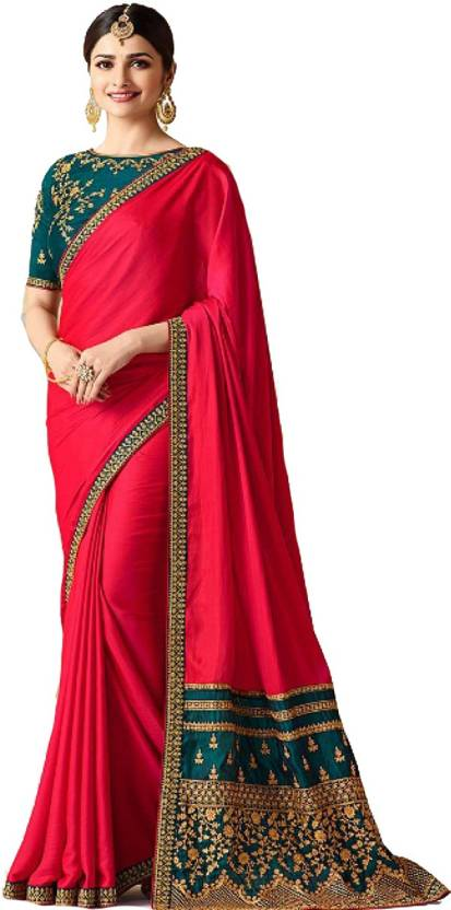 b488213ea Laxmipati Fashion Embroidered Bollywood Silk Saree (Red