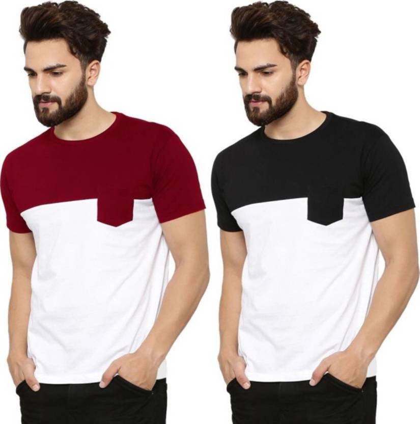 46051428 ATTITUDE START OF FASHION Solid Men Round Neck White, Maroon T-Shirt