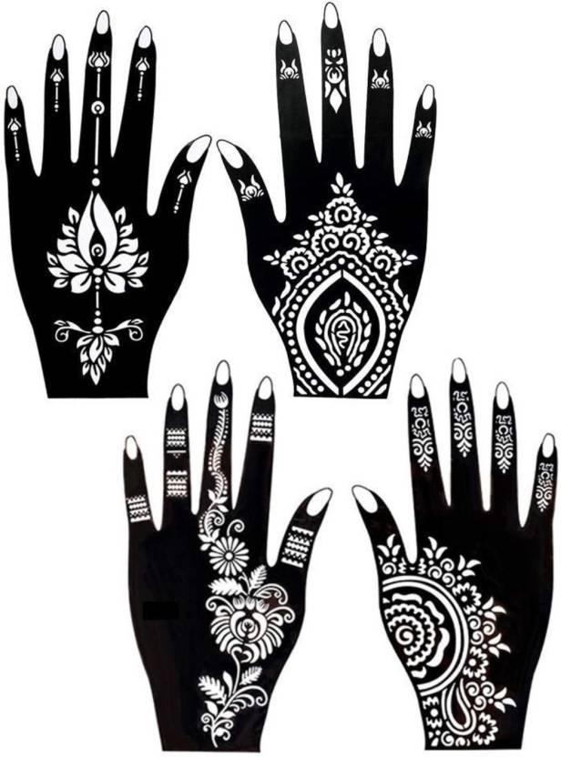 76f728bc2 ivana's Henna Tattoo Stencil (Set of 4) Women Girls Hand Finger Paint  Temporary Tattoo (101) (tatto)