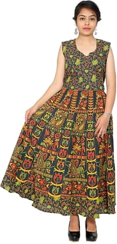 a1ddfb8d641 Jaipuri Attire Women s Maxi Green Dress - Buy Jaipuri Attire Women s ...