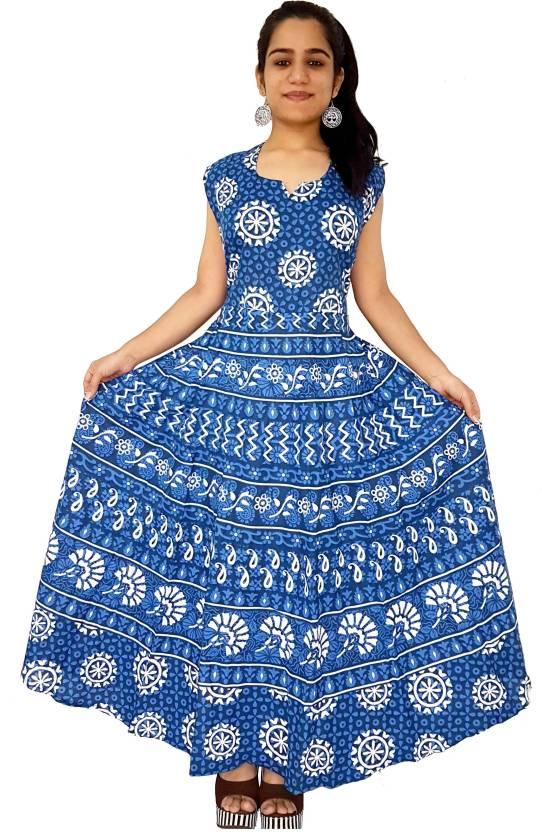 c54604ac607 Jaipuri Attire Women s Maxi Blue Dress - Buy Jaipuri Attire Women s Maxi  Blue Dress Online at Best Prices in India