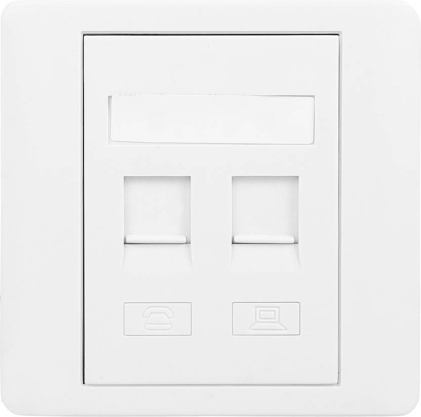 capslock dual port rj45 86 keystone jack faceplate cat 5e cat 6 with  shutter (1 pcs) lan adapter (1000 mbps)