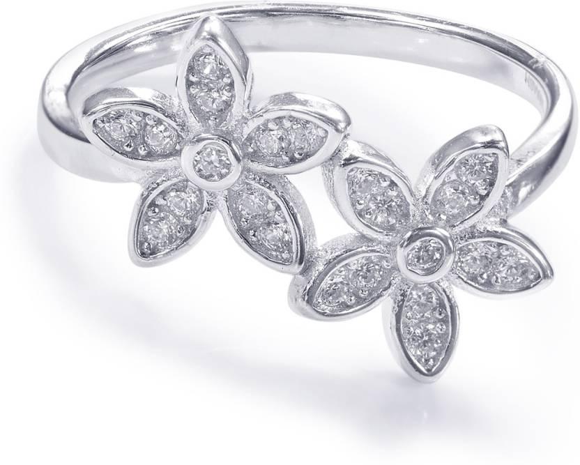 202ccae05 Taraash Taraash 925 Sterling Silver Floral Shape Finger Ring For Women  CBFRBX86I-20 Silver Cubic Zirconia Ring Price in India - Buy Taraash  Taraash 925 ...