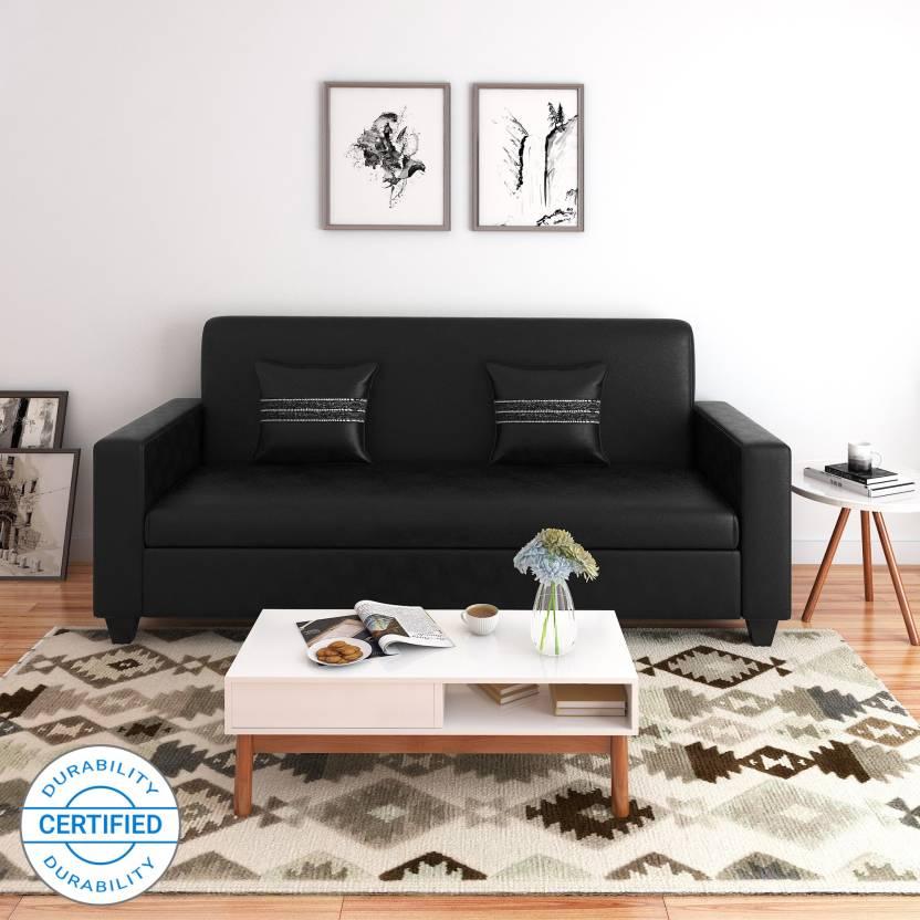 Flipkart Perfect Homes Crete Leatherette 3 Seater Sofa