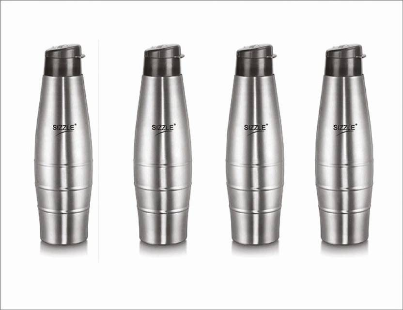 Sizzle Leak Proof Stainless Steel Water Bottle 750 Ml Grey Set Of 4 Pack