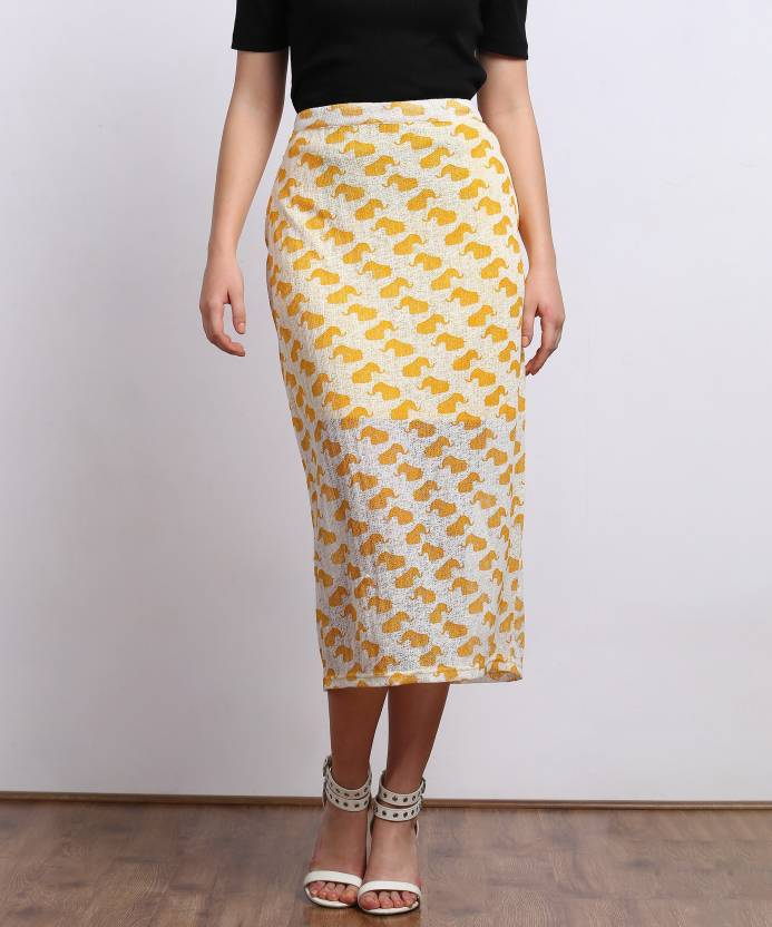 8ab197b70e Global Desi Printed Women's Pencil Yellow Skirt - Buy YELLOW Global Desi  Printed Women's Pencil Yellow Skirt Online at Best Prices in India    Flipkart.com