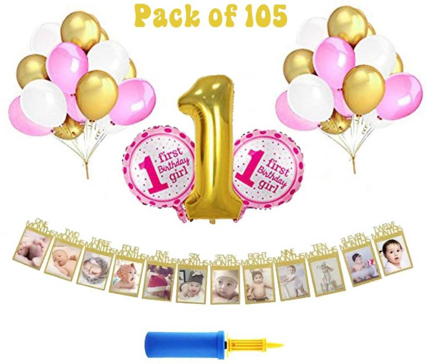 PARTY PROPZ First Birthday Decorations Combo Set Of 105 Pcs Girls