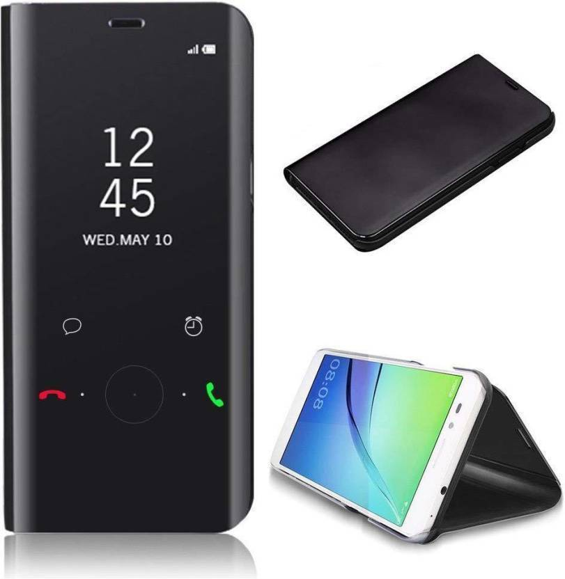 AXXEUM Flip Cover for Mirror Clear View Flip Phone Back Case for Samsung Galaxy J7 Prime (Non-Sensor Black) (Black, Holster, Plastic)