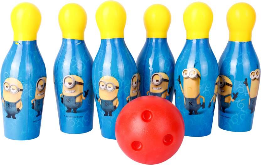 Gencliq Minions Bowling Set Plastic 6 Pins 1 Balls