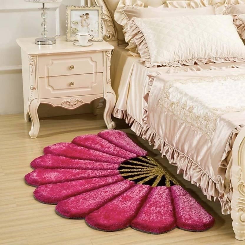 SRS HOME Maroon Polyester Carpet (60 cm X 150 cm)