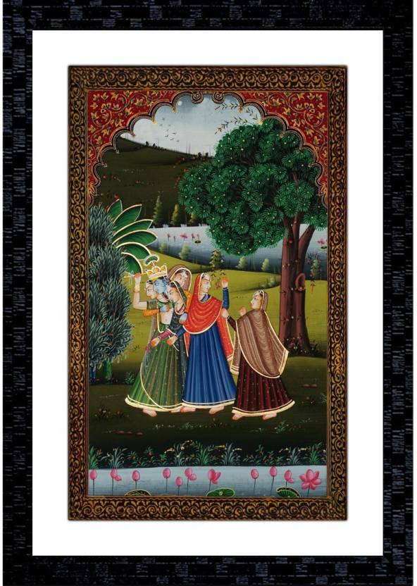Janki Online Modern Art Canvas Rajasthani Women Large Glass Wall Paintings  with Frame for home decoration item for bedroom for sale Canvas Painting  (20 inch ... e444acd5b3