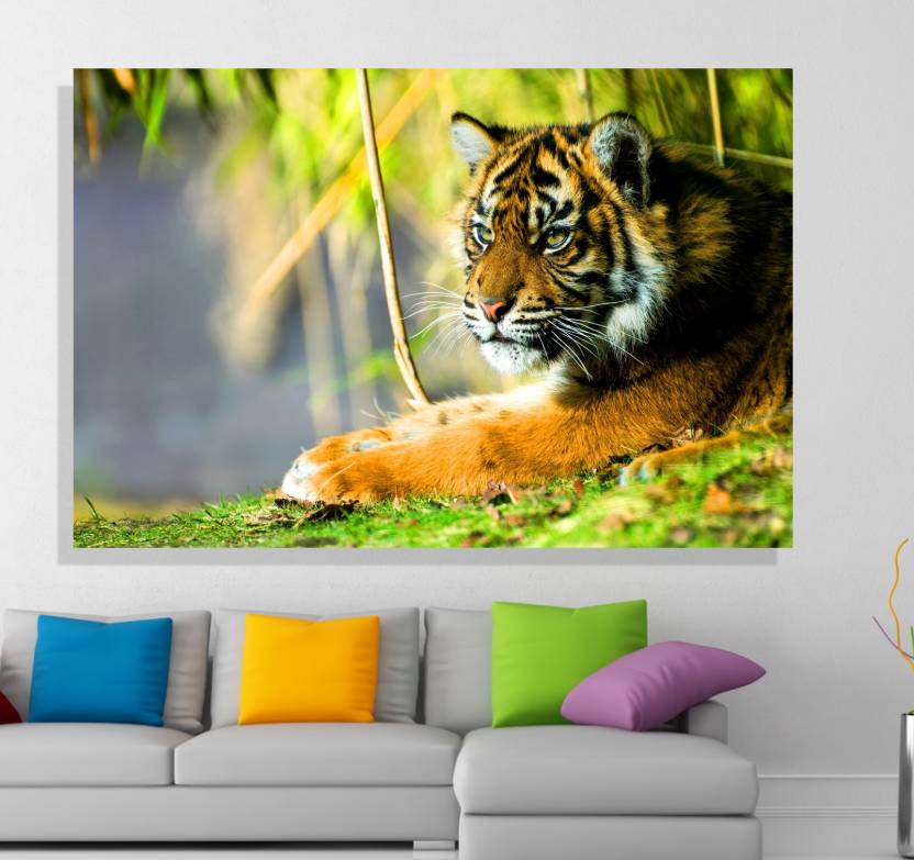 Indus Homes Beautiful Canvas Unframed Wall Painting Tiger In The