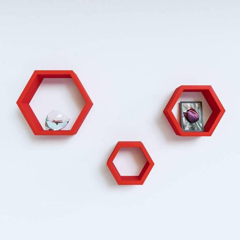 Craftatoz Hexagon Wall Shelf MDF  Medium Density Fiber  Wall Shelf Number of Shelves   3, Red