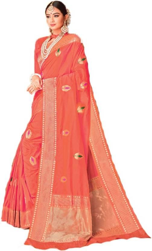 5bd1294dc4 Buy Indian Boutique Embroidered Banarasi Banarasi Silk Orange Sarees ...