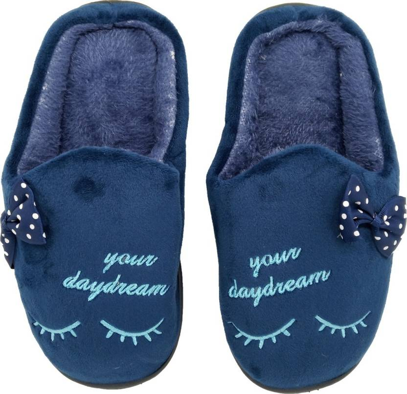 eeaabd3151132 Miscreef Blue Bow Warm Winter, Furry, Bedroom Slippers - Buy Miscreef Blue Bow  Warm Winter, Furry, Bedroom Slippers Online at Best Price - Shop Online for  ...