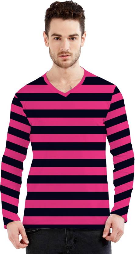 c78da2e11 TEES SPORTS Striped Men s V-neck Multicolor T-Shirt - Buy TEES SPORTS  Striped Men s V-neck Multicolor T-Shirt Online at Best Prices in India