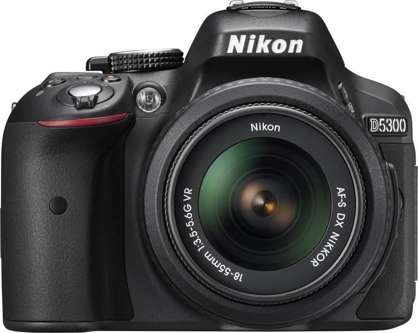 Nikon D5300 D5300 WITH 18 55 LENS DSLR Camera AF P DX NIKKOR 18   55 mm f/3.5   5.6G VR Black  Nikon DSLR   Mirrorless