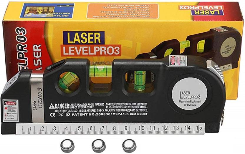 Techtest Laser Level Horizontal Vertical Measure 8FT Aligner Rulers Multipurpose Accurate Line Tape Adjusted With Cross Light Multi-Function ...