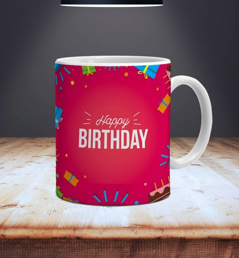 Style Crome Happy Bday Cake Gift Box Printed Ceramic Mug