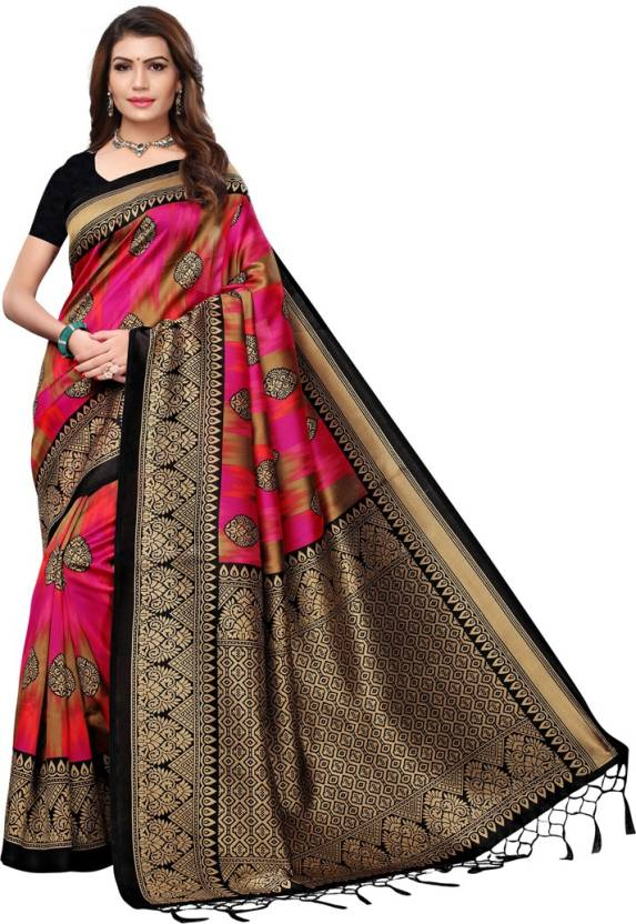 e3b117bf6bd Buy Saara Printed Fashion Poly Silk Pink Sarees Online   Best Price ...