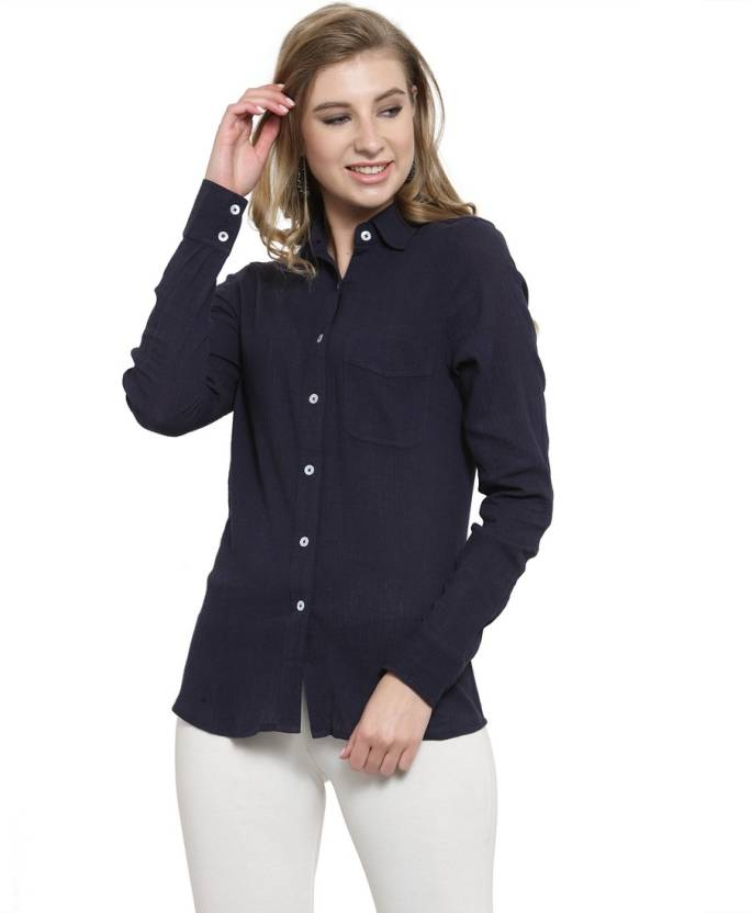 899dfeeaf056f Color Cocktail Women Solid Casual Blue Shirt - Buy Color Cocktail ...