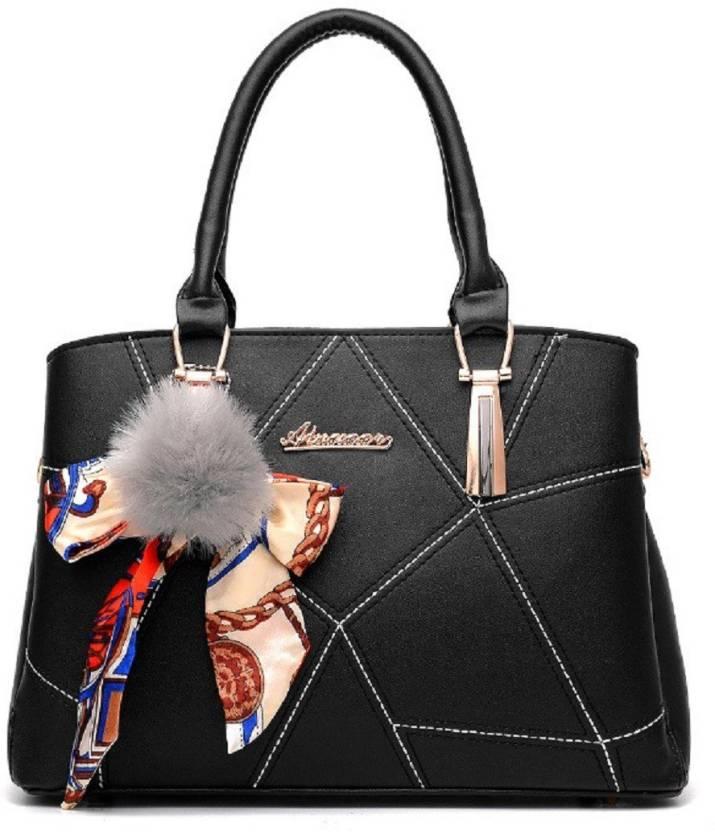 5b78a7c5f6a9d VISMIINTREND Women Casual Black PU Tote Black - Price in India    Flipkart.com