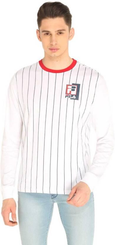 94cecec4ad46 Fila Striped Men Round Neck White T-Shirt - Buy Fila Striped Men ...