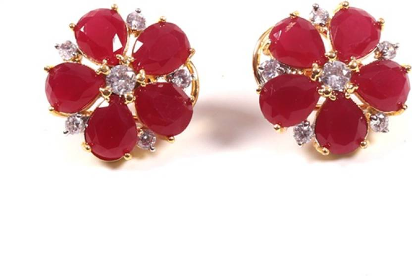 2cff85d317a Flipkart.com - Buy ANAY Beautiful Stud with Red Stone Earrings Alloy Stud  Earring Online at Best Prices in India