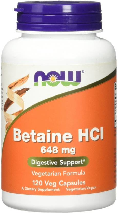 Now Foods Betaine HCL 648 mg 120 Veggie Caps Price in India - Buy