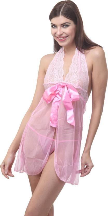 8d7a8d6e096 Cloe Valentine Self Design Babydoll - Buy Cloe Valentine Self Design Babydoll  Online at Best Prices in India