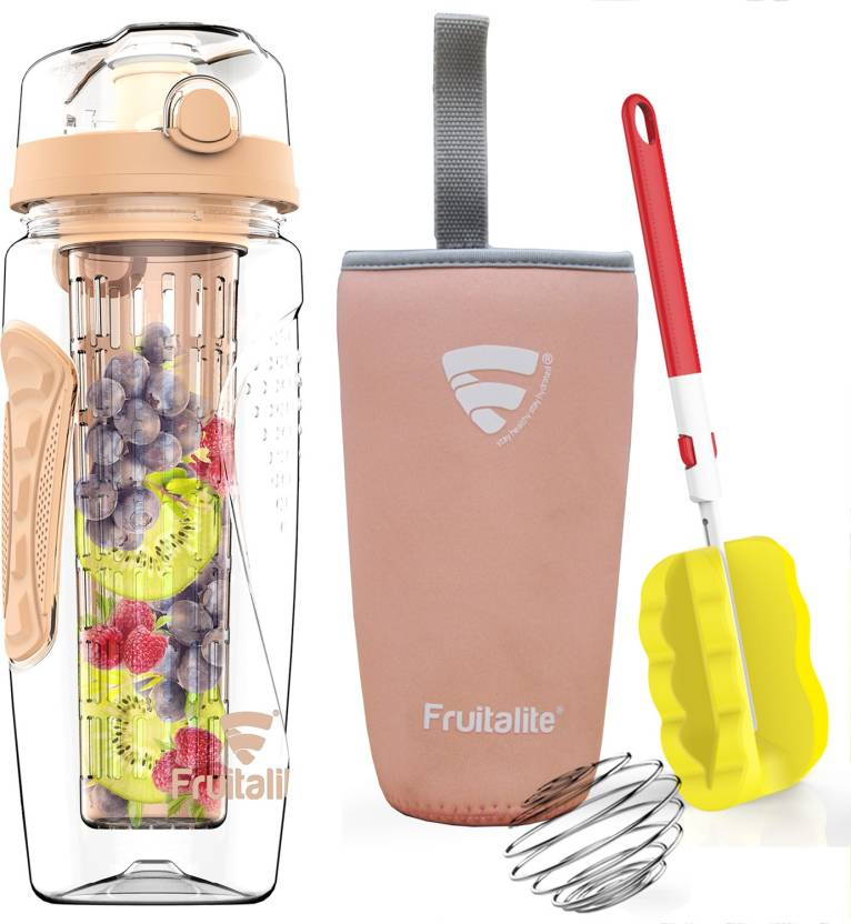 958345d310 Fruitalite Fruit Infuser Water Bottle- 1 Ltr, Full Length Colored Infusion  Rod- Rose Gold 1000 Bottle (Pack of 1, Gold)
