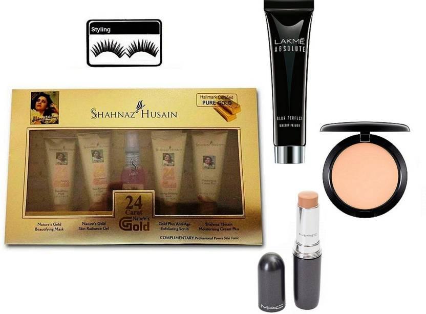 Styling Eyelashes, Mac Stick Concealer,Compact, Lakme Absolute Blue Perfect Makeup Primer, Shahnaz Husain 24 Carat Natural's Gold (Set of 5)