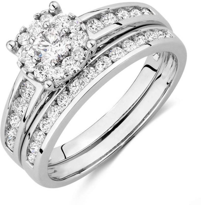 Silverdew Fashione Jewellery Halo Bridal Set Ring Engagement