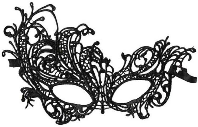 BLACK LACE DOMINO EYE MASK FANCY DRESS MASQUERADE PARTY FEMALE WOMEN/'S MASK